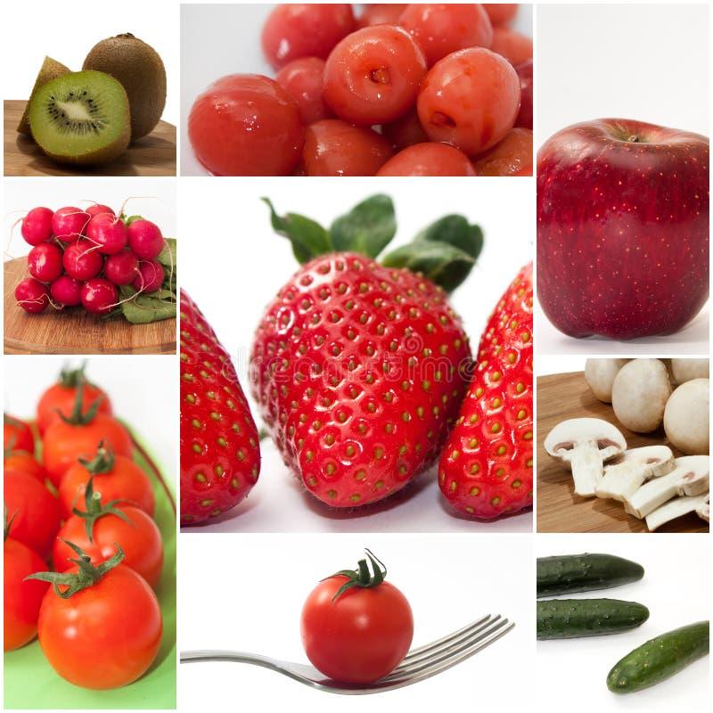 Frutis e imagem misturada da colagem dos vegetais imagens de stock royalty free