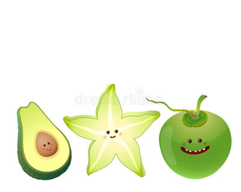 Fruto-abacate bonito, fruto de estrela, coco ilustração stock