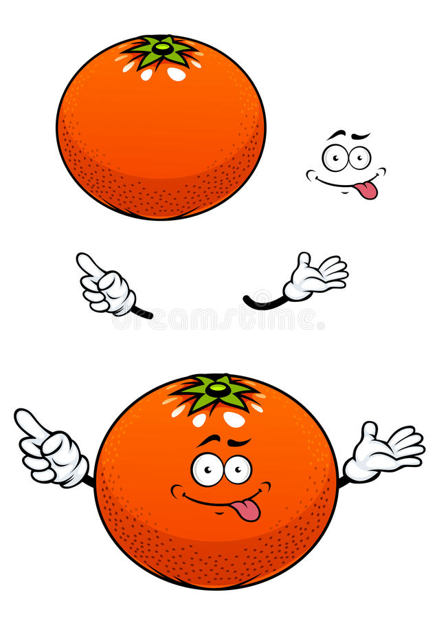 Fruto alaranjado com personagem de banda desenhada lustroso da casca ilustração do vetor