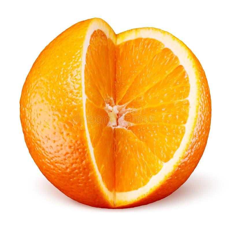Fruto alaranjado cortado isolado no branco foto de stock royalty free