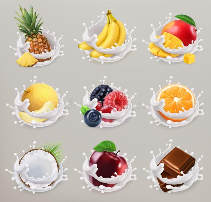 Fruto, bagas e iogurte o ícone do vetor 3d ajustou 2 ilustração stock