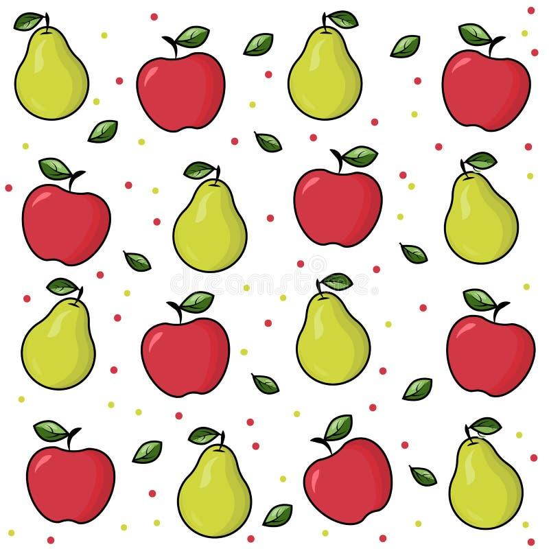 Fruto brilhante: pera, maçã Cópia do fruto no fundo branco Apple vermelho maduro com folha Pera madura com uma folha Teste padrão ilustração royalty free
