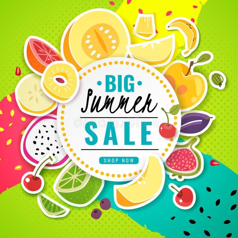 Fruto da bandeira Os frutos do verão do suco dos alimentos frescos do cartaz oferecem a texto do cartão do inseto do preço com ilustração royalty free