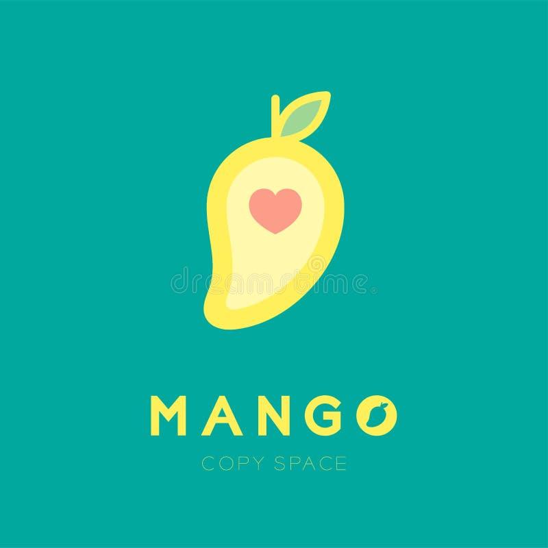 Fruto da manga com cor do amarelo da ilustração da cenografia do ícone do coração do amor ilustração royalty free