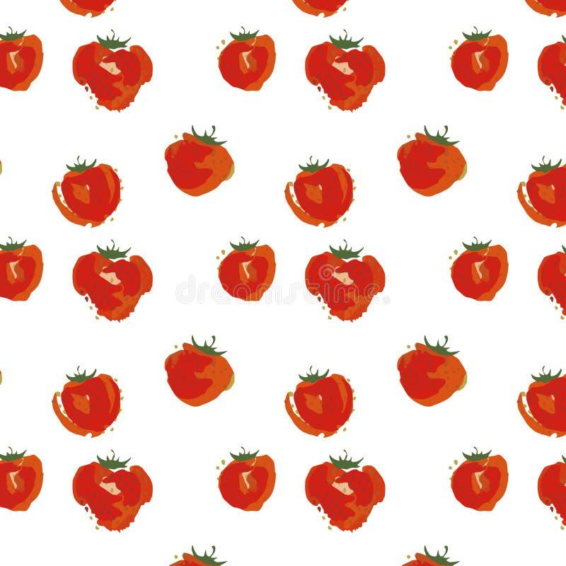 Fruto da morango no fundo branco, ilustração sem emenda do vetor da aquarela do teste padrão foto de stock royalty free