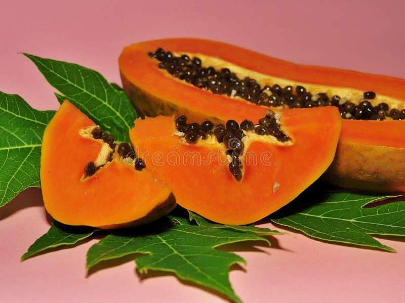 Fruto da papaia isolado no fundo cor-de-rosa fotografia de stock royalty free