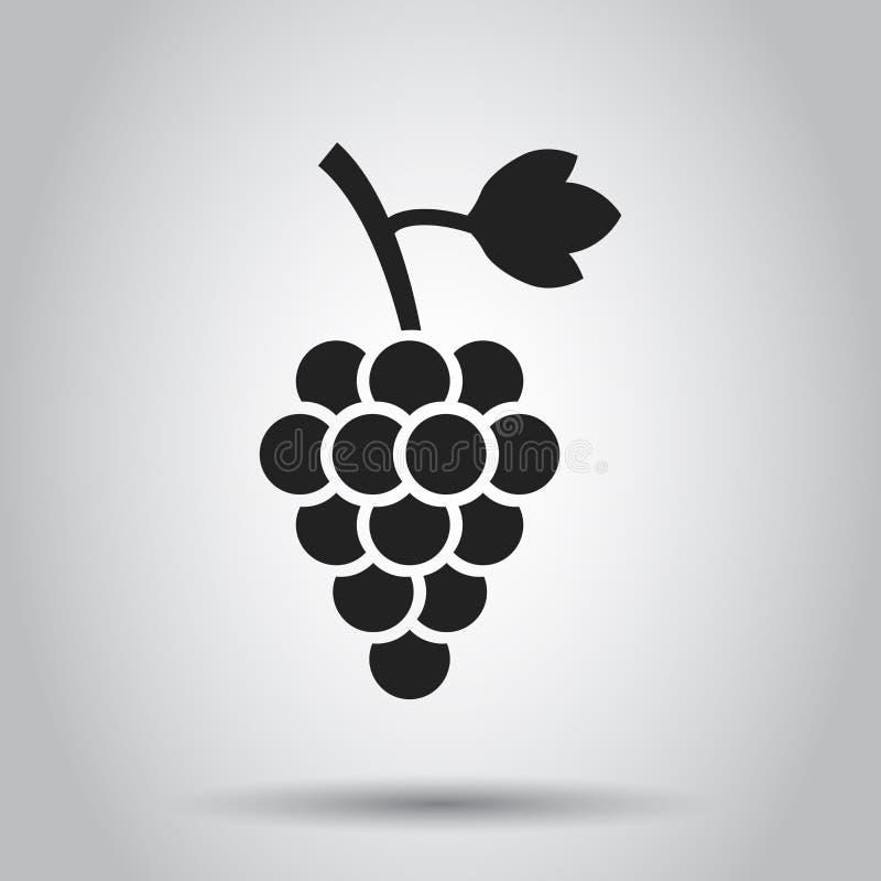 Fruto da uva com ícone da folha Ilustração do vetor no backgro branco ilustração royalty free