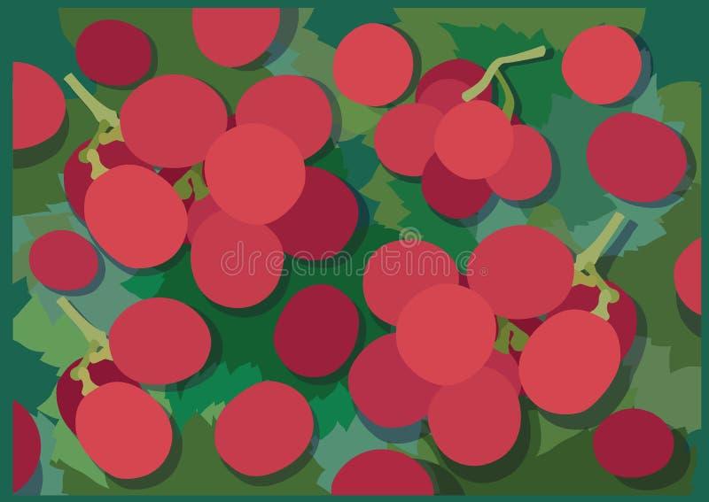 Fruto da uva no projeto do fundo do verde da folha ilustração stock
