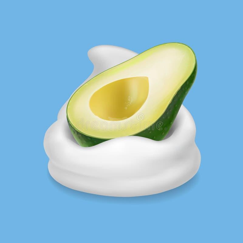 Fruto de abacate na ilustração do iogurte ou do leite 3d ilustração stock