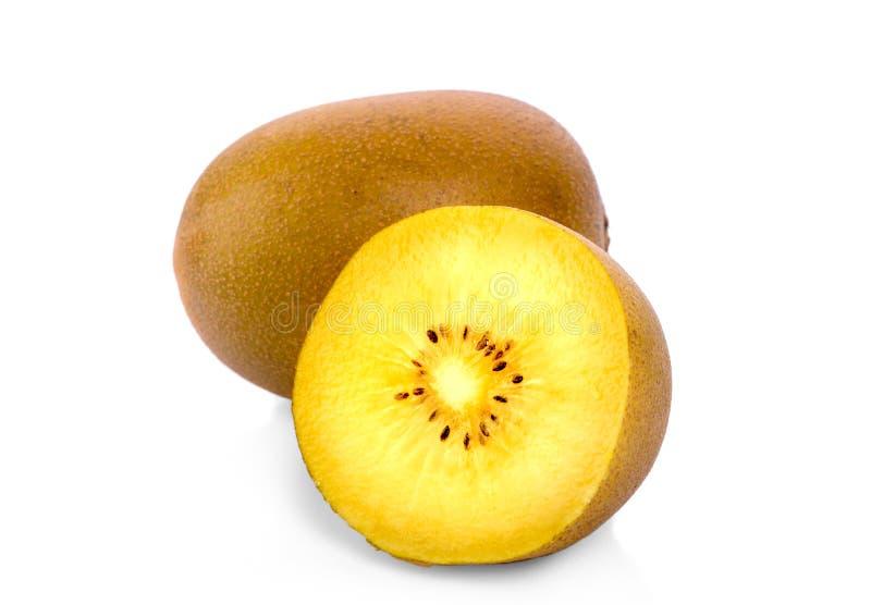 Fruto de quivi amarelo isolado no fundo branco, ouro Nova Zelândia fotografia de stock royalty free