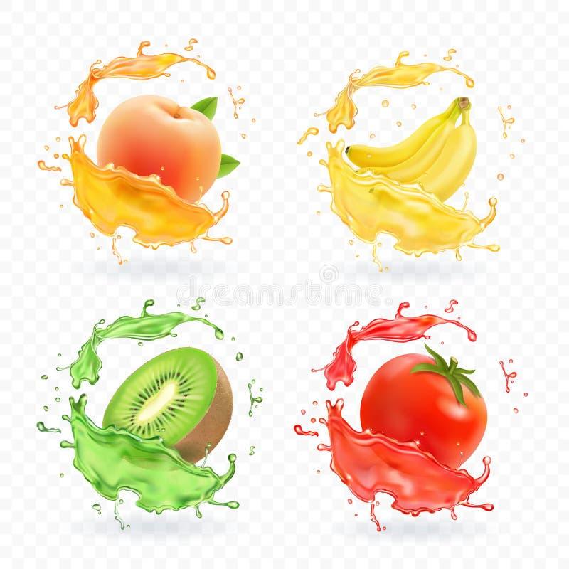 Fruto de quivi, banana, tomate, suco do abricó do pêssego Fresco realístico espirra o grupo do ícone dos frutos do vetor ilustração royalty free