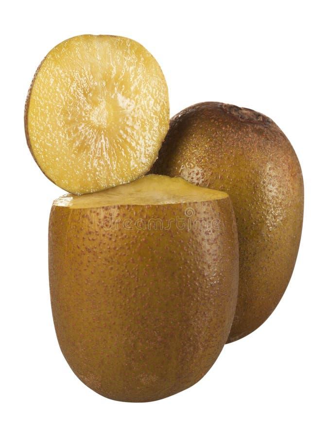 Fruto de quivi dourado fresco isolado no fundo branco imagem de stock