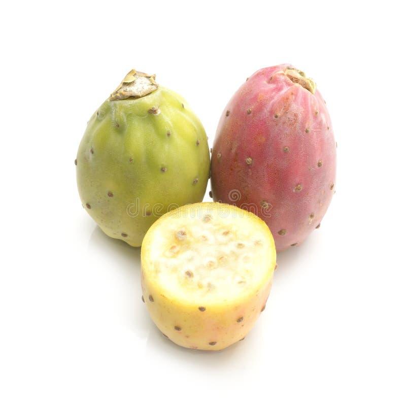 Fruto do cacto ou pera espinhosa isolado no fundo branco imagem de stock