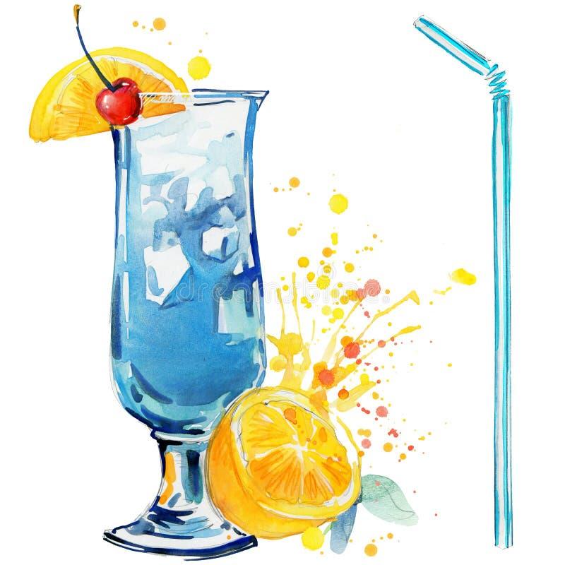 Fruto do cocktail, gelo e um respingo Ilustração tirada mão da aguarela ilustração stock