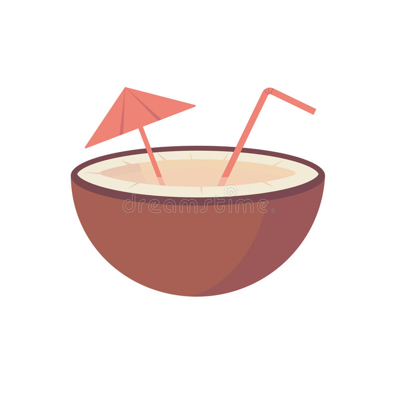 Fruto do coco com ilustração lisa do vetor do suco, da palha e do guarda-chuva ilustração stock