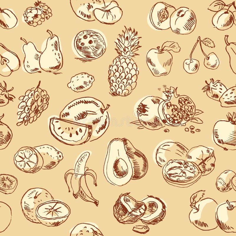 Fruto do desenho a mão livre. Teste padrão sem emenda ilustração stock
