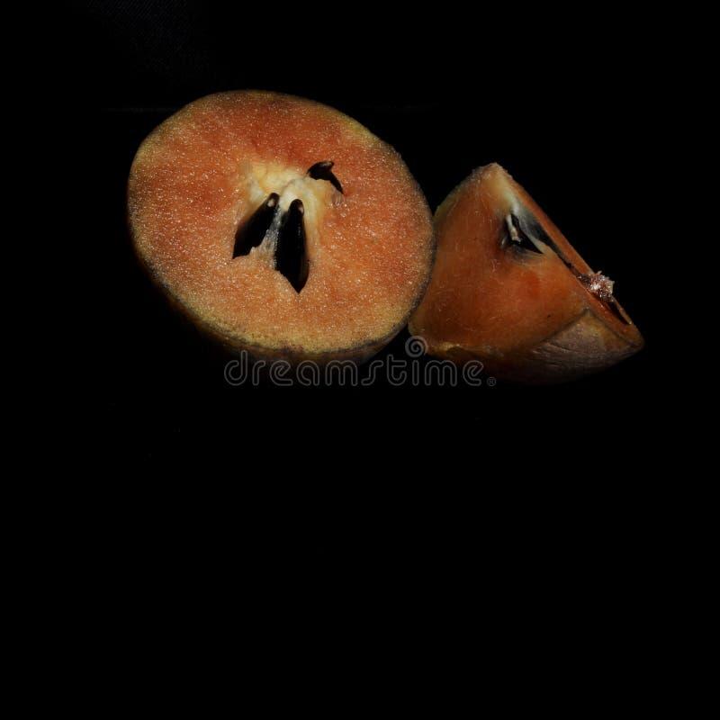 Fruto do Sapodilla isolado no fundo preto imagem de stock royalty free
