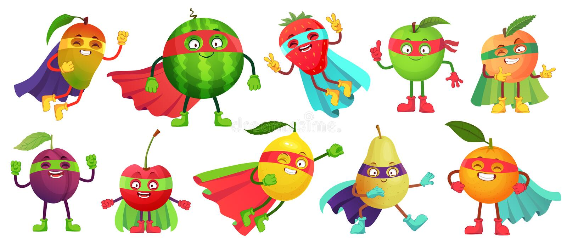Fruto do super-herói Maçã super, baga e laranja no traje do casaco do herói Vetor saudável dos desenhos animados do alimento dos  ilustração stock