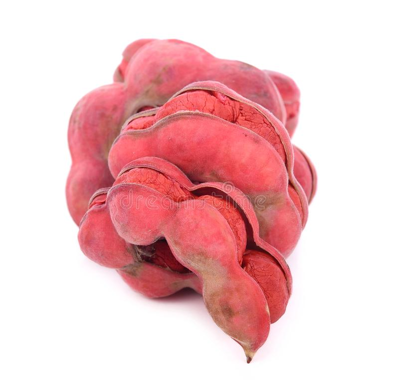 Fruto do tamarindo de Manila no fundo branco imagens de stock