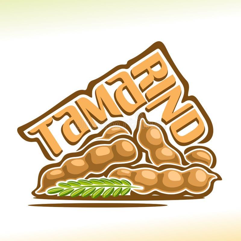 Fruto do tamarindo do logotipo do vetor ilustração stock