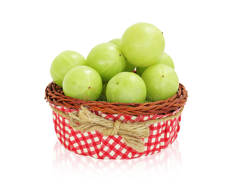 Fruto do verde de Amla, groselha ndian fotografia de stock