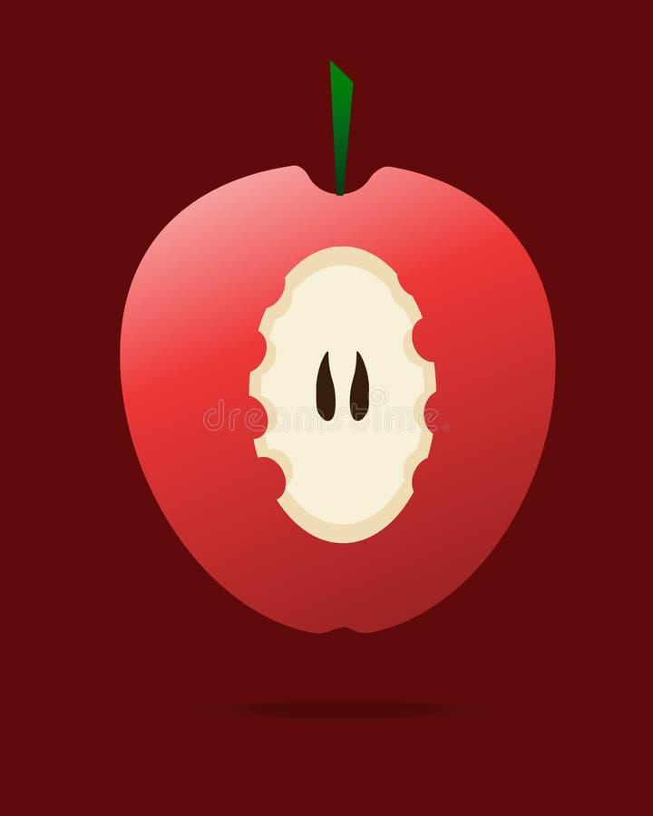 Fruto doce e healty da maçã vermelha mordida - ilustração stock