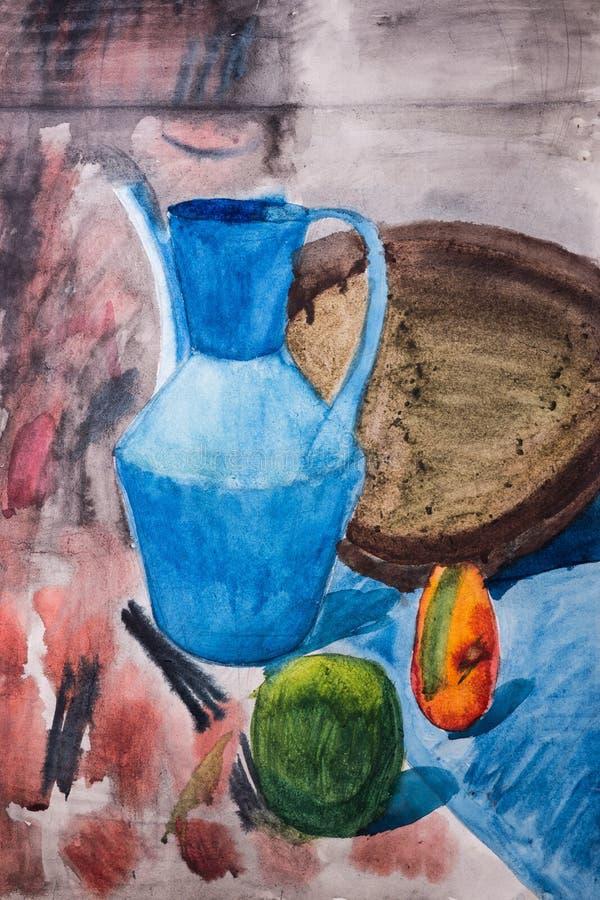 Fruto e jarro pintados com uma escova ilustração royalty free
