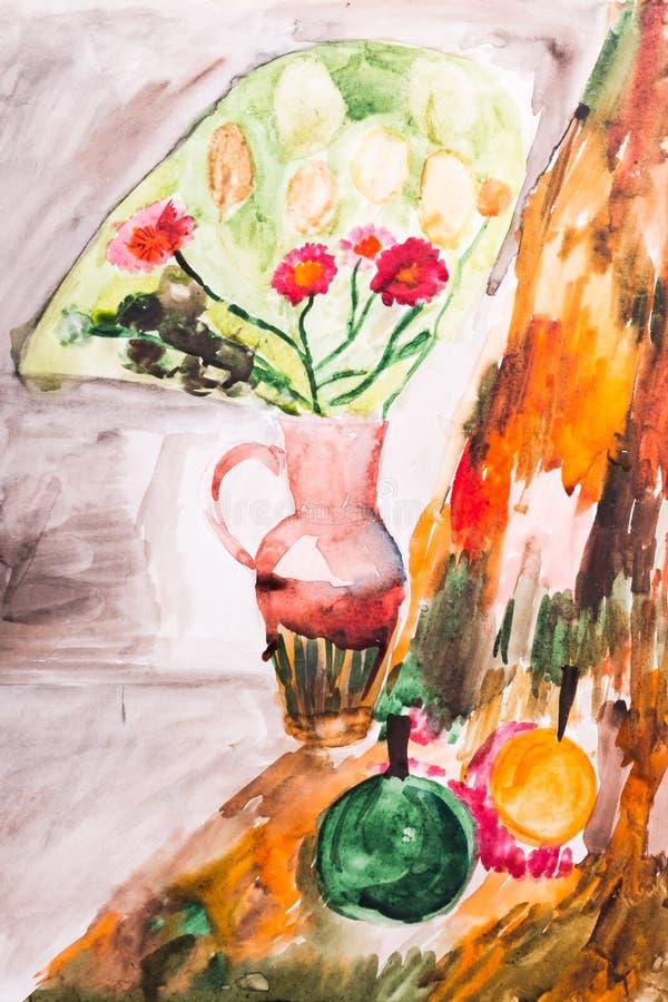 Fruto e jarro pintados com uma escova ilustração stock
