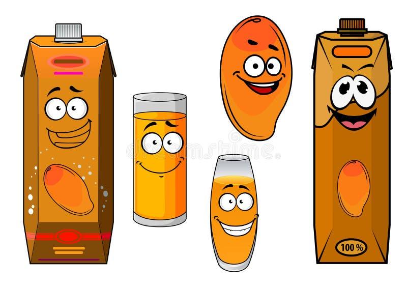 Fruto e suco doces da manga dos desenhos animados ilustração do vetor