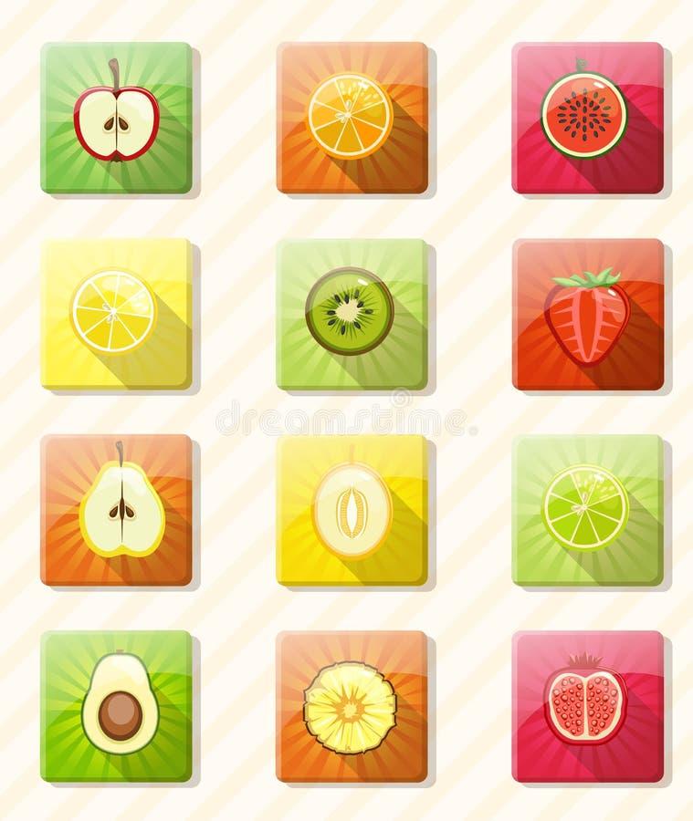 Fruto fresco e bagas coloridos ilustração royalty free