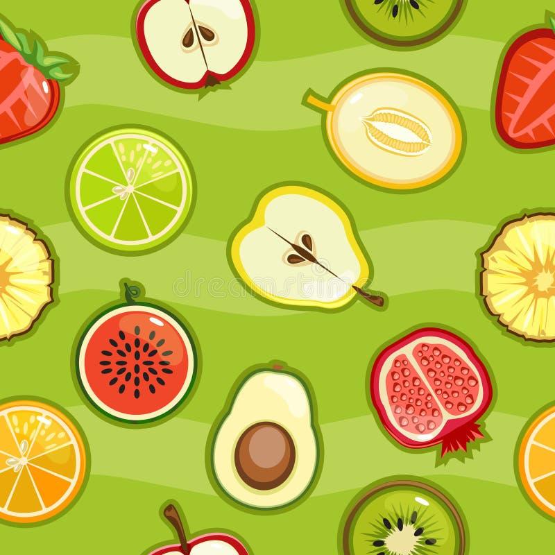Fruto fresco e bagas do teste padrão sem emenda em um corte ilustração stock