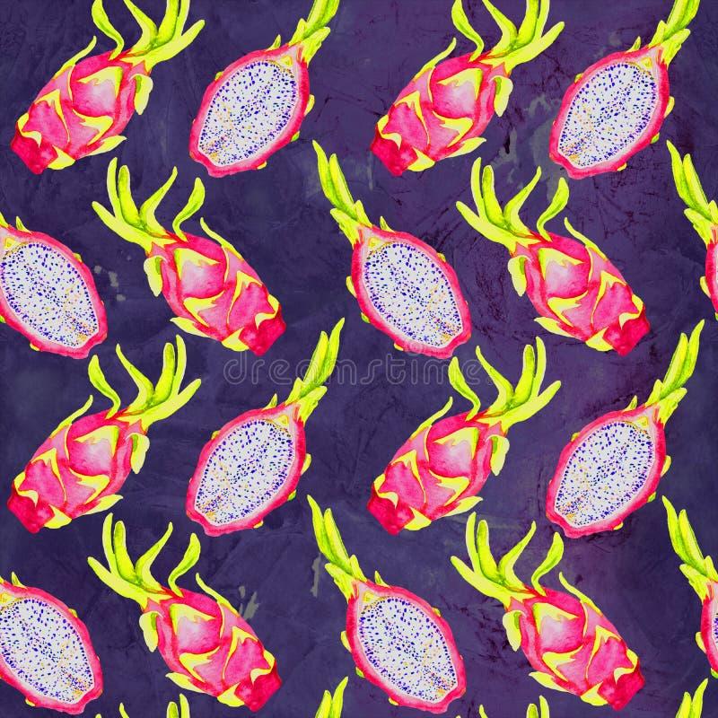 Fruto inteiro do dragão e fatia cortada na obscuridade - azul, fundo de mármore roxo da textura ilustração stock