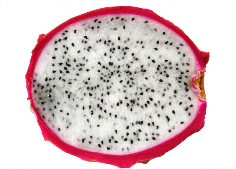 Fruto ou pitaya do drag?o com o corte isolado no fundo branco Detalhes macro fotos de stock royalty free