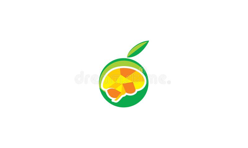 Fruto para o vetor do logotipo da saúde do cérebro ilustração do vetor