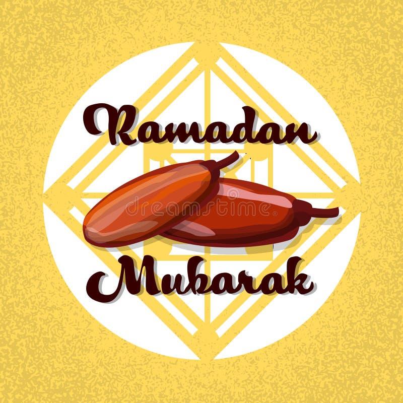 Fruto Ramadan Mubarak Islamic da data seca ilustração stock