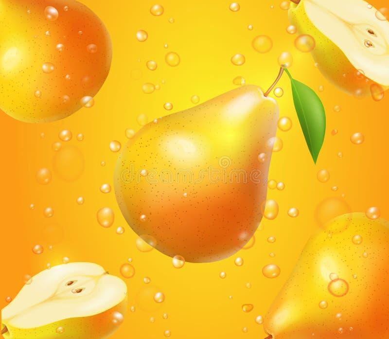 Fruto realístico da pera no projeto do suco para anunciar ilustração do vetor