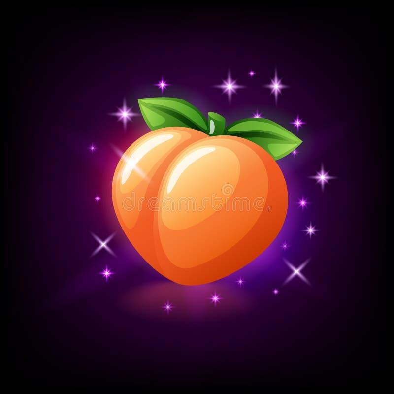 Fruto suculento alaranjado do pêssego com folha verde, ícone do entalhe para o casino em linha ou logotipo para o jogo móvel no f ilustração royalty free