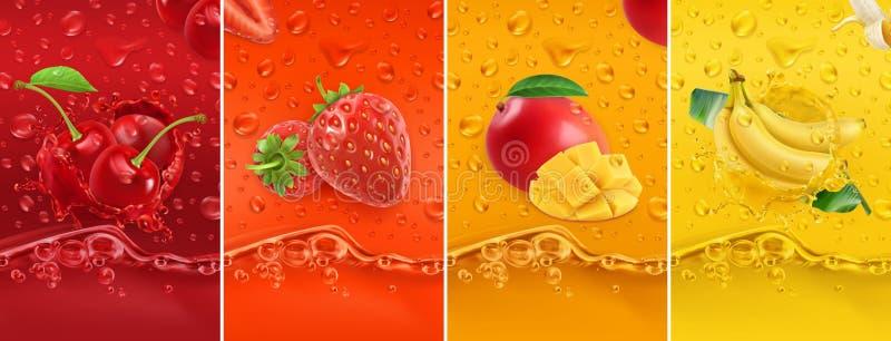Fruto suculento e fresco Cereja, morango, manga, banana Gotas e respingo de orvalho grupo do vetor 3d 50mb de alta qualidade eps ilustração do vetor
