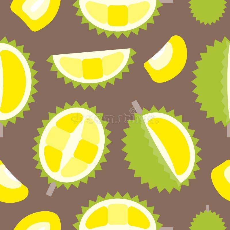 Fruto tropical do teste padrão sem emenda, projeto liso do durian ilustração stock