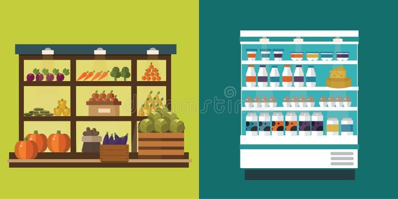 Fruto, vegetais, produtos de leite, carne, grupo do vetor da tenda da loja da padaria ilustração stock