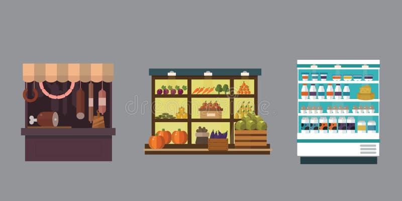 Fruto, vegetais, produtos de leite, carne, grupo do vetor da tenda da loja da padaria ilustração royalty free