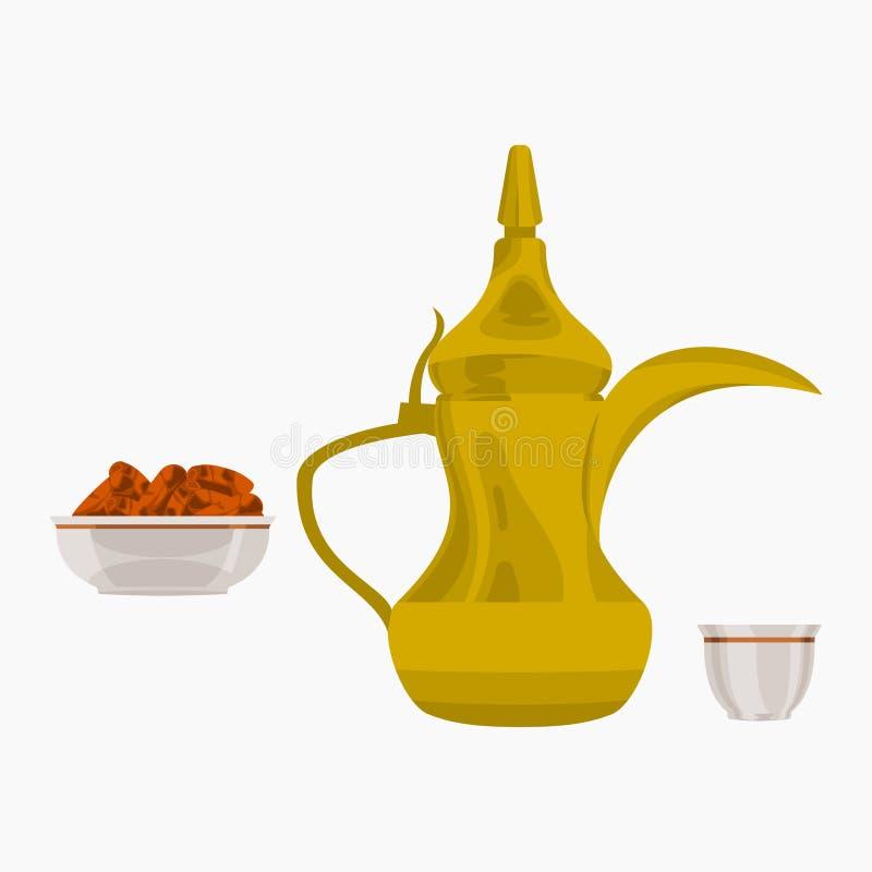Frutos árabes do café e da palma de data ilustração do vetor