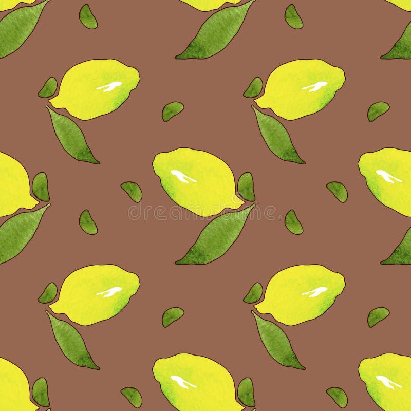 Frutos amarelos do limão com as folhas verdes isoladas no fundo da terracota Aquarela que tira o teste padr?o sem emenda para o p ilustração do vetor