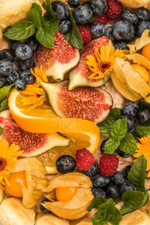 Frutos coloridos ajustados em um bolo fotografia de stock royalty free