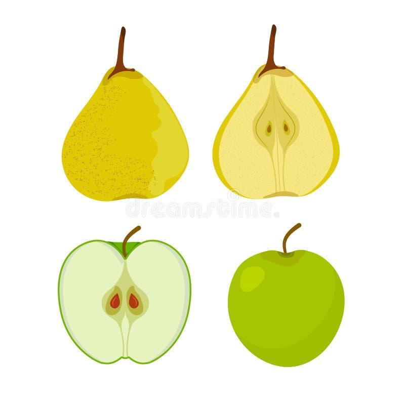 Frutos da Web Apple, pera Jardim Vetor ilustração royalty free