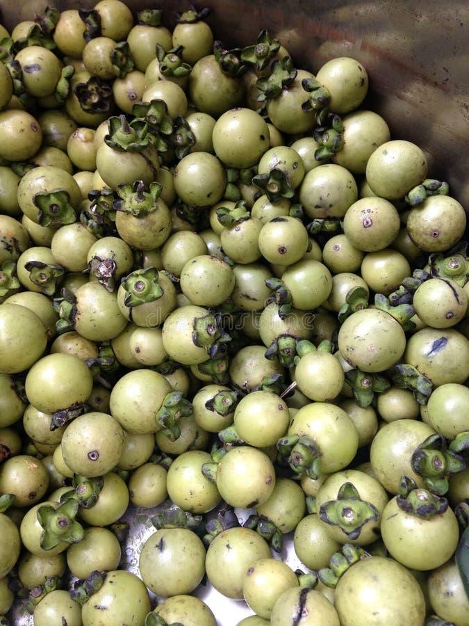 Frutos de árvore verdes novos do ébano, mollis do Diospyros, no grande recipiente de aço inoxidável fotografia de stock