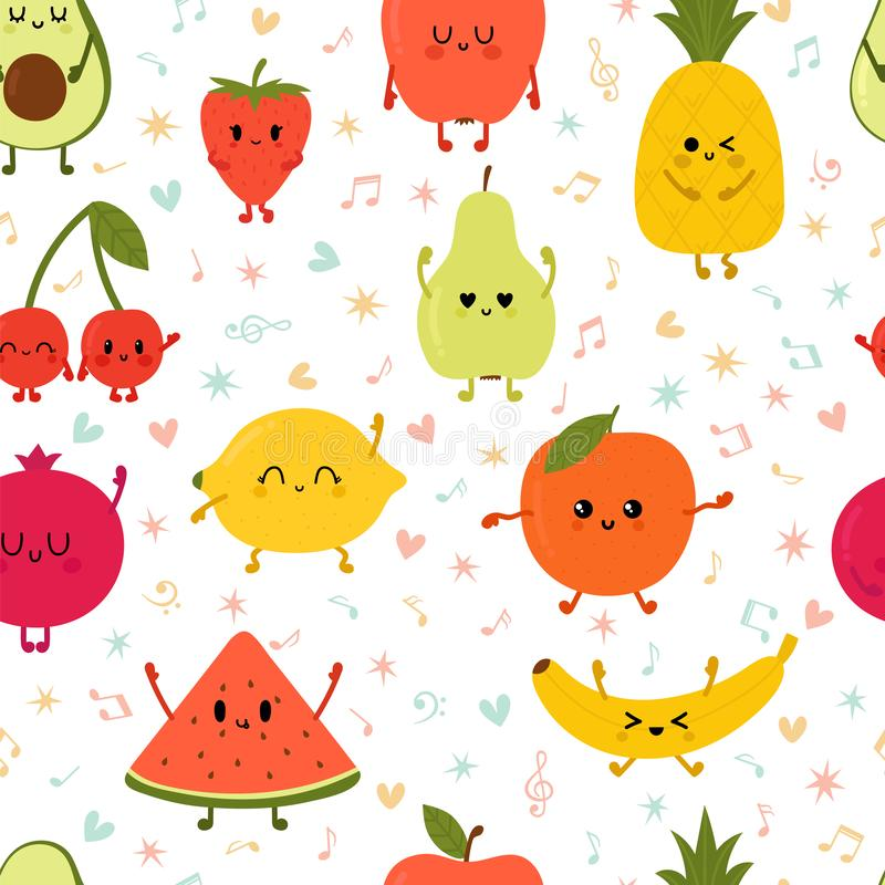 Frutos de dança do wiyh sem emenda do teste padrão Mão bonito frutos tirados do kawaii Coleção saudável do estilo Estilo liso Ali ilustração do vetor
