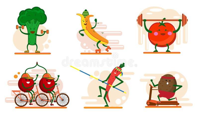 Frutos de sorriso bonitos e caráteres da baga envolvidos nos esportes, grupo de ilustrações lisas do vetor do estilo dos desenhos ilustração stock