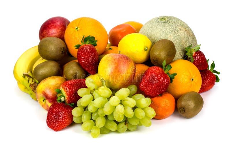 Frutos diferentes isolados no branco foto de stock