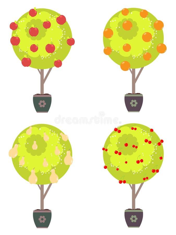 Frutos diferentes no árvores ilustração stock